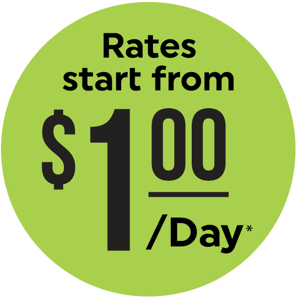 Rates start from $1 per day